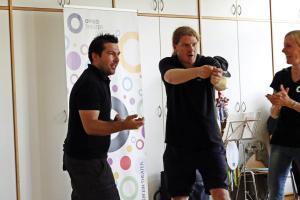 André Gießübl (links) bei der OVIGO-Impro